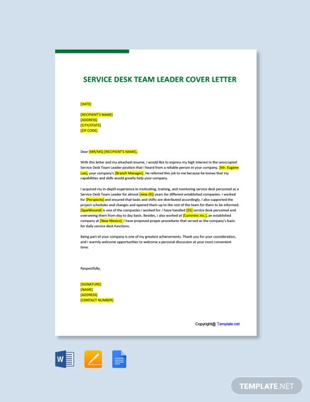 Free Service Desk Team Leader Cover Letter Template