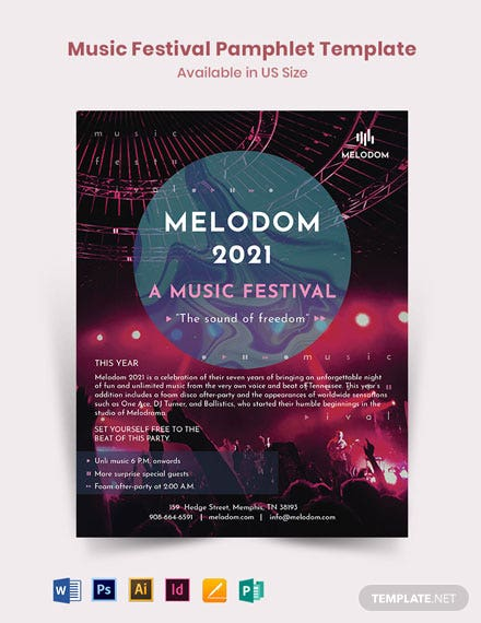 Music Festival Pamphlet Template