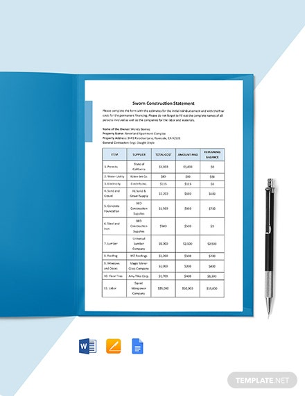 Sworn Construction Statement Template