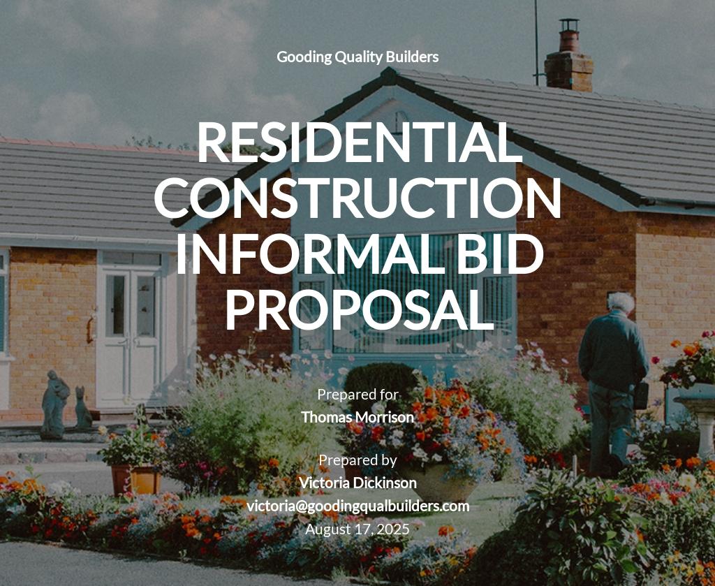 Construction Informal Bid Proposal Template