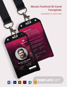 Music Festival ID Card Template