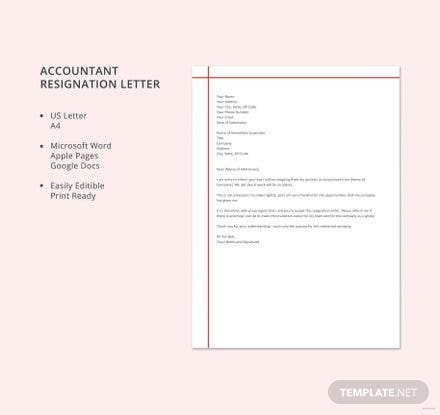 Free Accountant Resignation Letter Template