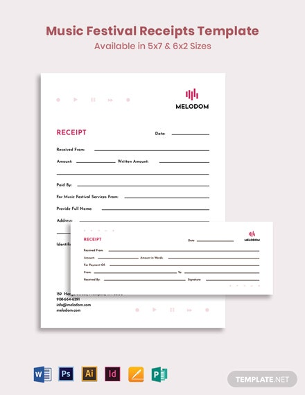 Music Festival Receipt Template