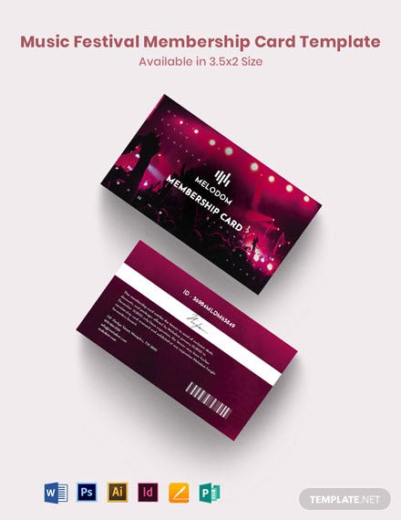Music Festival Membership Card Template