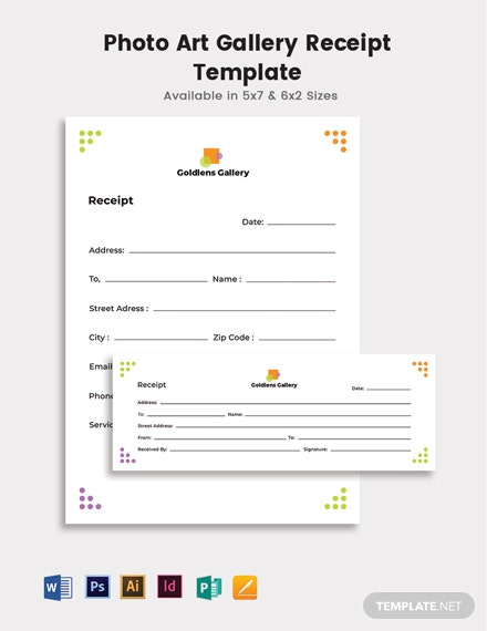 Photo Art Gallery Receipt Template