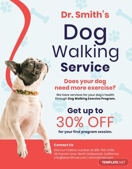 Dog Walking Service Flyer Template Free Templates