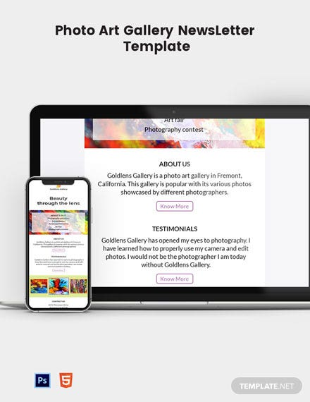 Photo Art Gallery Email Newsletter Template