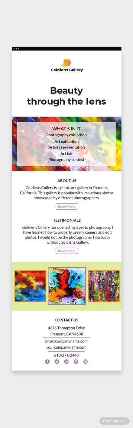 Photo Art Gallery Email Newsletter Download