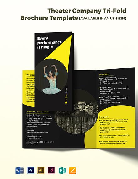 Theater Company Tri-fold Brochure Template