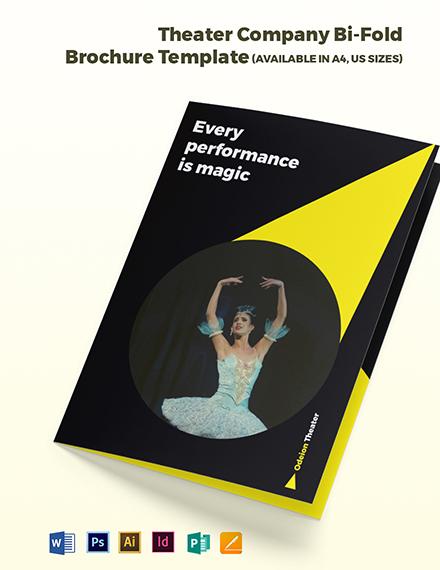 Theater Company Bi-Fold Brochure Template