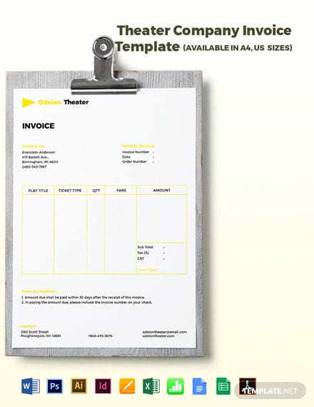 Theater Company Invoice Template
