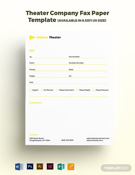Theater Company Fax Paper Template