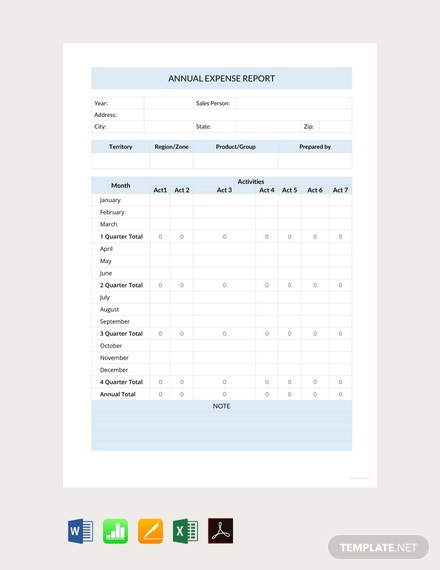 free annual expense report template 440x570 1