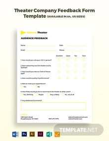 Theater Company Feedback Form Template