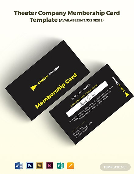 Theater Company Membership Card Template