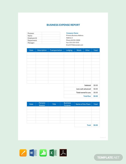 free business expense report template 440x570 1