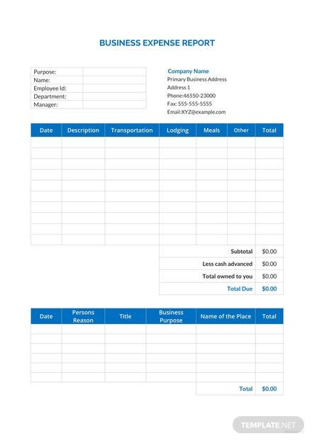 business expense report template download 154 reports in word