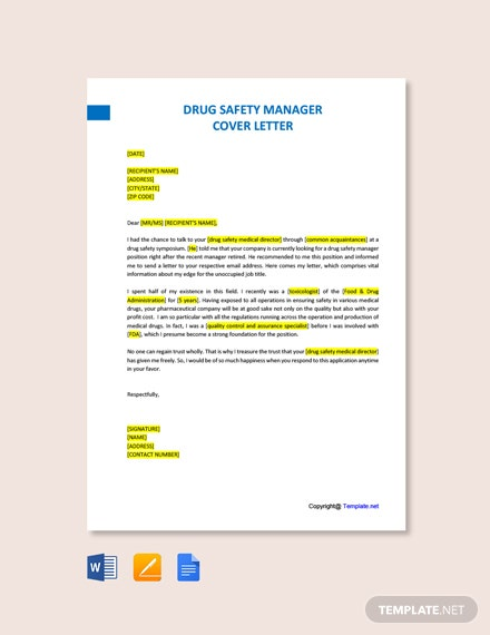 Free Drug Safety Manager Cover Letter Template