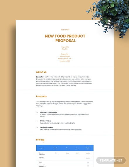 New Food Product Proposal Template