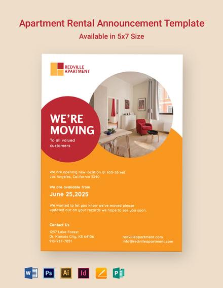 Apartment Rental Announcement Template
