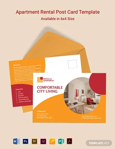 Apartment Rental Postcard Template