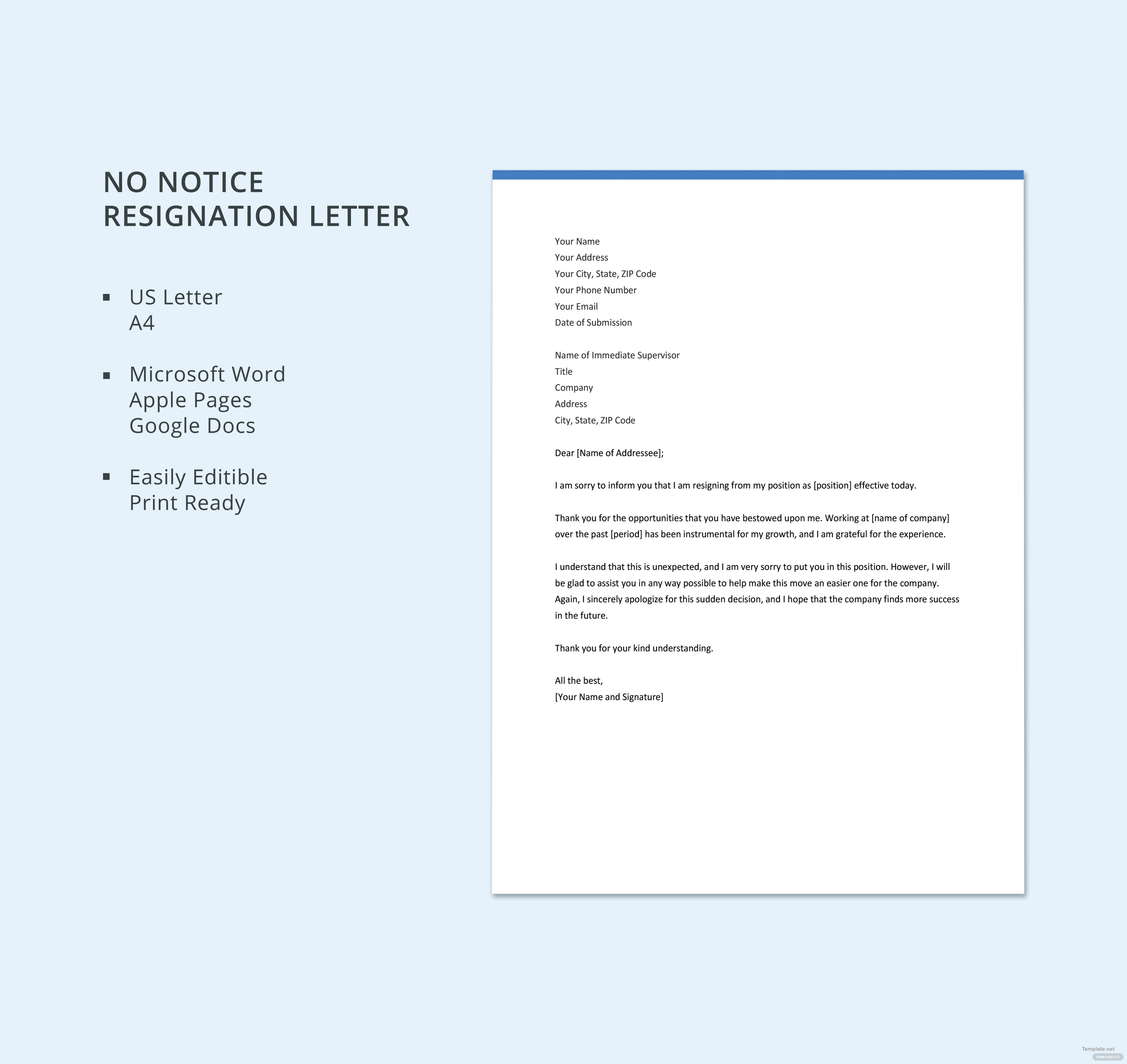 Beautiful Free No Notice Resignation Letter Template
