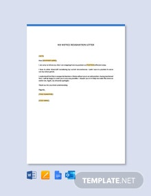 Free No Notice Resignation Letter Template