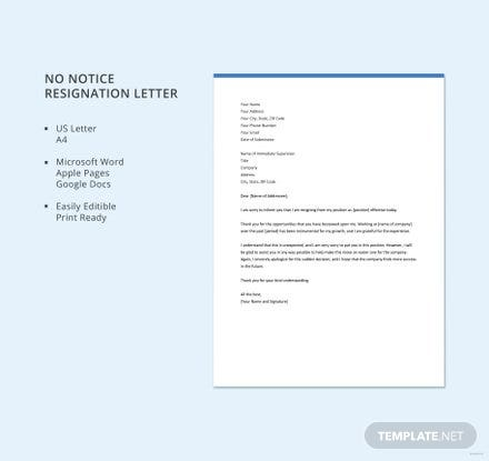 Free no notice resignation letter template download 700 letters in free no notice resignation letter template expocarfo Choice Image