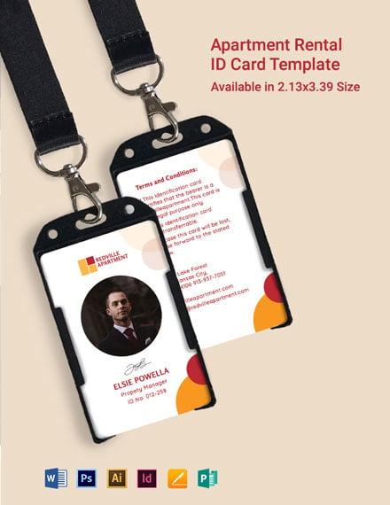 Apartment Rental ID Card Template
