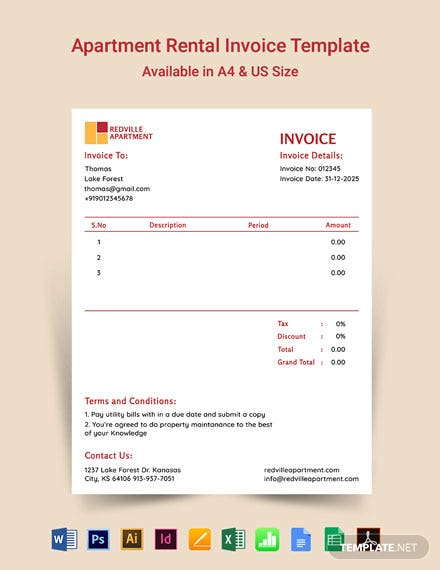 Apartment Rental Invoice Template