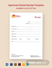 Apartment Rental Receipt Template