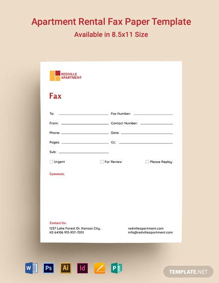 Apartment Rental Fax Paper Template