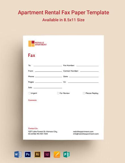 Apartment Rental Fax Paper Template