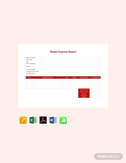 free simple expense report template 440x570 1