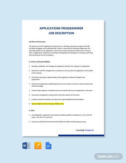 Free Applications Programmer Job Description Template