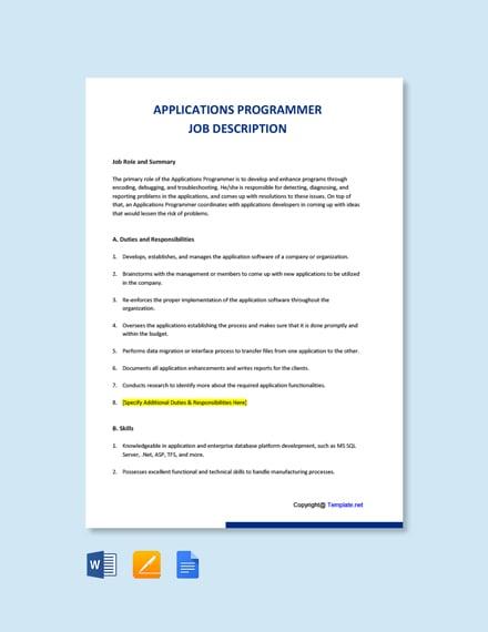 Free Applications Programmer Job AD/Description Template