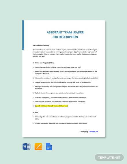 Free Assistant Team Leader Job Ad/Description Template
