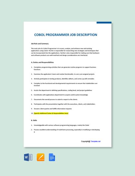 Free Cobol programmer Job Ad/Description Template