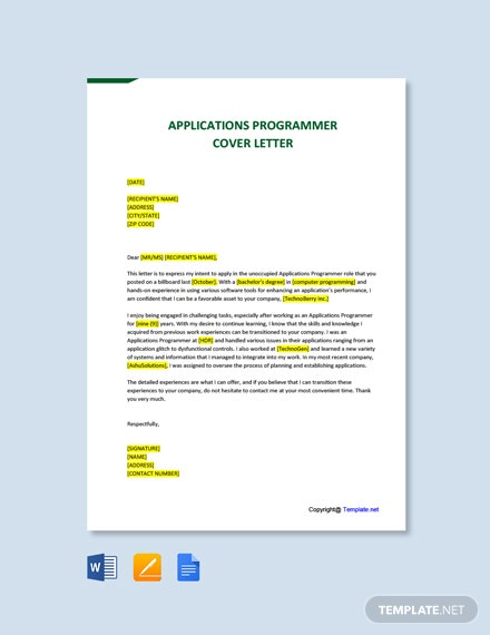 Free Applications Programmer Cover Letter Template