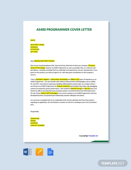 Free AS400 Programmer Cover Letter Template