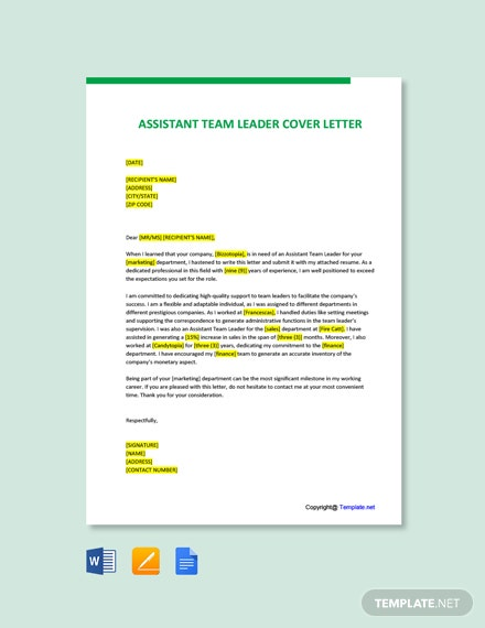 Free Assistant Team Leader Cover Letter Template
