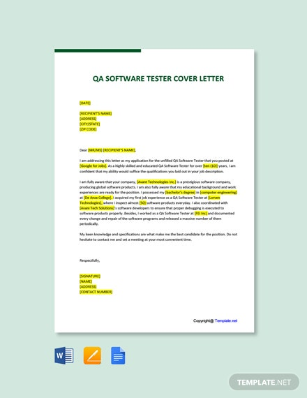 Free QA Software Tester Cover Letter Template