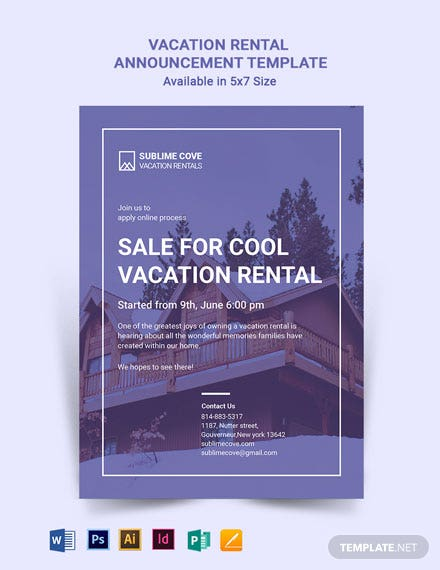 Vacation Rental Announcement Template