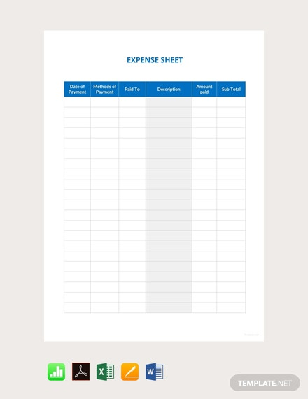 Free Sample Expense Sheet Template