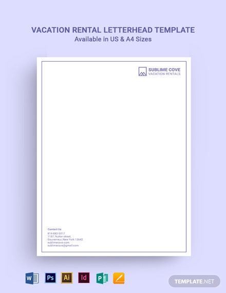 Vacation Rental Letterhead Template