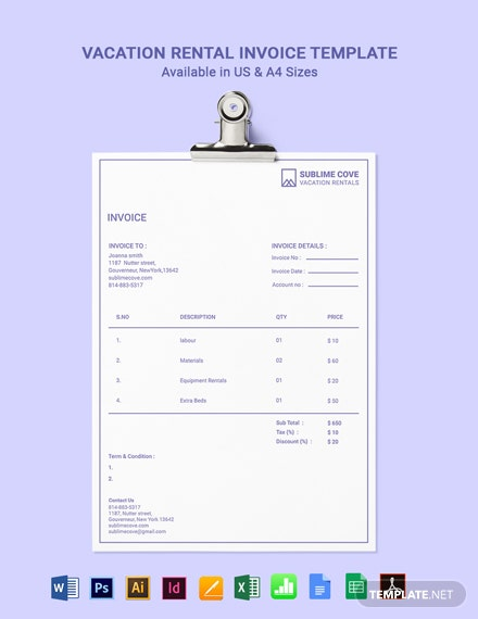 Vacation Rental Invoice Template