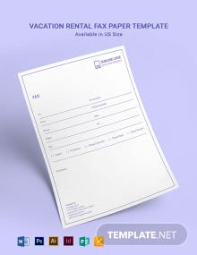 Vacation Rental Fax Paper Template