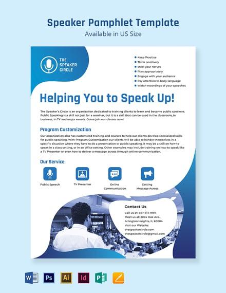 Speaker Pamphlet Template