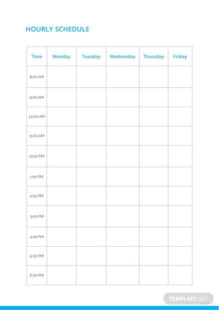 Blank Hourly Schedule Format