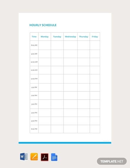 graphic relating to Free Printable Hourly Planner titled 20+ Cost-free Hourly Plan Templates - PDF Phrase Google